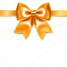 white silk ribbon golden bow of silk ribbon isolated on white background stock