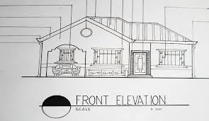 architectural drawing elegant house design front elevation