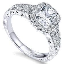cushion ring 14k white gold row cushion cut halo diamond engagement ring