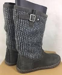 s ugg australia leather boots ugg australia lyza charcoal grey wool blend knit leather