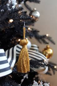 gold tassel ornaments black and white striped ribbon how