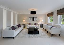 beautiful modern living room in white with a marble floor marble