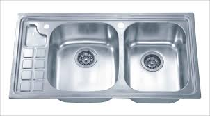 Double Faucet Best Stainless Steel Kitchen Sink With Double Equal Bowl And Two