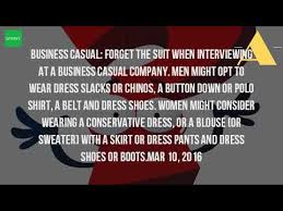 what is casual dress for an interview youtube