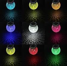 decorative hanging solar lights 2 led solar powered rgb color changing hanging cracked glass ball