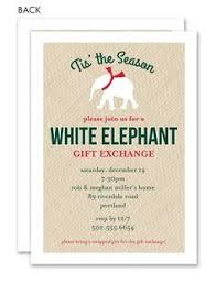 white elephant holiday gift exchange invite by ellieohdesigns
