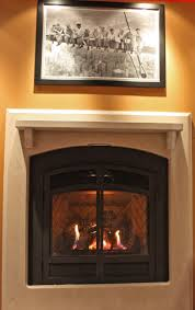 interior modern looks of painted brick fireplace showing