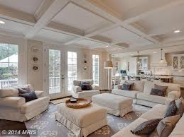 traditional living room with box ceiling u0026 french doors in mc lean