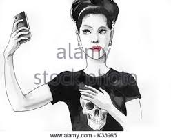 sketch take selfie photo on cell smart phone stock vector art