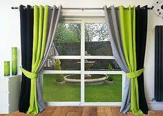 Grey And Green Curtains Ring Top Fully Lined Pair Eyelet Ready Made Curtains Black Lime