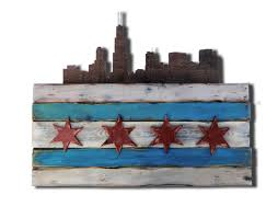 Chicaho Flag Chicago Flag Distressed Weathered Wood One Of A Kind With Skyline