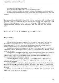 solaris administration sample resume solaris administration