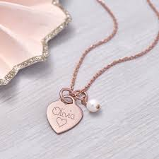 rose gold personalised petite rose gold heart charm necklace by hurleyburley