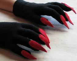 Halloween Costume Gloves Claw Gloves Charcoal Gray Black Halloween Costume