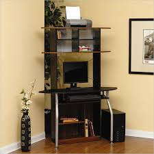 A Tower Corner Computer Desk Studio Rta Corner Computer Desk In Black And Maple