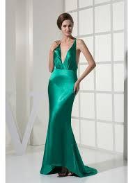 design v neck satin green evening dresses