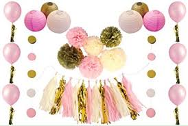 pink and gold party supplies 38pc ivory pink and gold party supplies 1st birthday