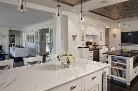 white quartz marble look alike mid century modern kitchen
