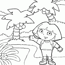 dora the explorer coloring dora backpack lost in forest free