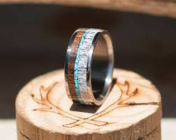 Stag Head Designs Men U0027s Wedding Band Antler And Turquoise Ring Staghead