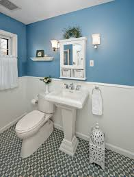chic bathroom design with two color combination cadet blue and
