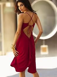 red open back dress