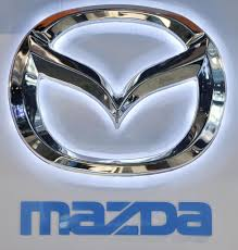 mazda logo the mazda logo is seen at the company u0027s display during the chicago
