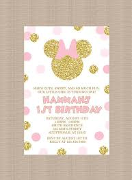 pink and gold minnie mouse birthday party invitation by honeyprint