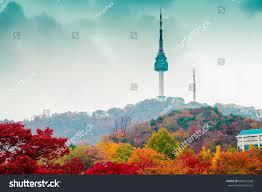 namsan seoul tower autumn maple tree stock photo 686021548