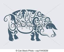 vectors pig tribal design vector pig drawing floral