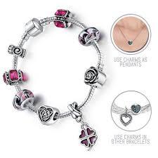 lucky leaf bracelet images Lucky purple four leaf clover silver pandora style bracelet combo jpg