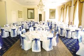 navy blue chair sashes white chair covers with midnight blue taffeta sashes wedding