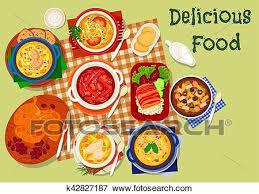 russe cuisine clipart russe cuisine soupe et viande plats icône