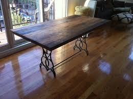 reclaimed wood and iron dining table with design gallery 12295