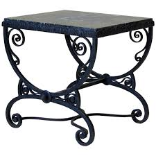 small wrought iron table small art deco wrought iron table with green marble top france