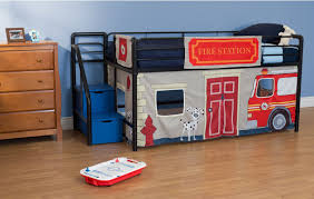 kids room fire department junior loft beds with tent blue steps