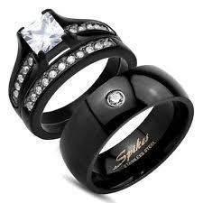 black wedding rings his and hers stainless steel simulated diamond engagement wedding ring sets