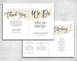wedding ceremony bulletin gold glitter brush stroke design folded 5x7 wedding program