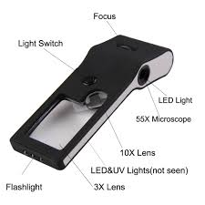 pocket magnifier with light handheld pocket magnifier 3x 10x magnifier 55x loupe microscope