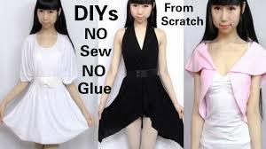 3 diy no sew u0026no glue clothes from scratch diy dress v neck