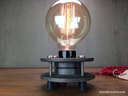 Industrial Desk Lamp Buy A Hand Made Minimalist Table Lamp Bare Edison Bulb Made To