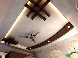 unique pop ceiling design wooden floor and wooden drawers an