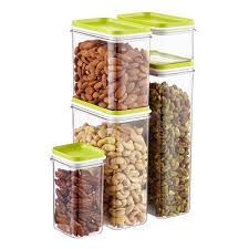 set of narrow stackable canisters with lime lids the container store