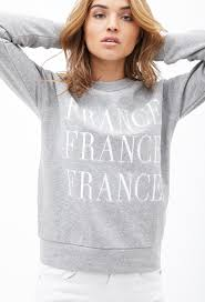 forever 21 france graphic pullover in gray lyst