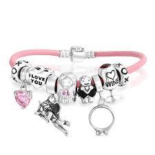 pandora style bracelet sterling silver images 925 silver wedding wine pink heart charm bracelet jpg