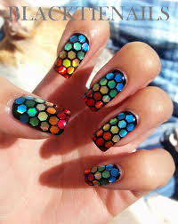 black tie nails rainbow glitter placement nail art