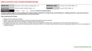 Resume For Architecture Job Architecture Lighting Designer Cover Letter U0026 Resume