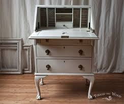 vintage shabby chic bureau with print no 22 touch the wood