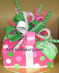 pink green and white unique creative birthday present cake with