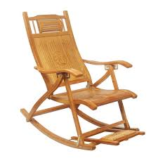 Recliner Rocker Chair Modern Foldadble Bamboo Rocking Chair Recliner With Foot Rest Indoor